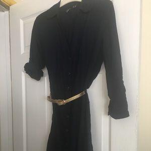 Button navy shirt dress